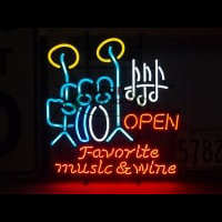 FAVORITE MUSIC WINE Neon Skilt