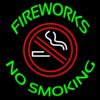 Fire Works No Smoking With Logo Neon Skilt