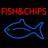 Fish And Chips With Fish Logo  Neon Skilt
