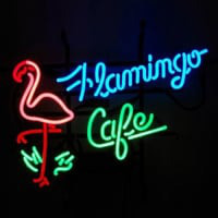 Flamingo Cafe Butik Neon Skilt