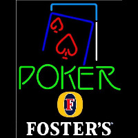 Fosters Green Poker Red Heart Beer Sign Neon Skilt