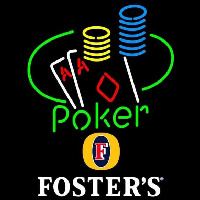 Fosters Poker Ace Coin Table Beer Sign Neon Skilt