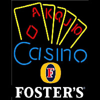 Fosters Poker Casino Ace Series Beer Sign Neon Skilt