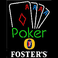 Fosters Poker Tournament Beer Sign Neon Skilt
