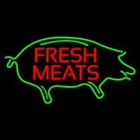 Fresh Meats With Pig Neon Skilt