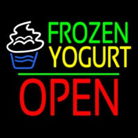 Frozen Yogurt Block Open Green Line Neon Skilt