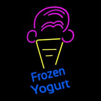 Frozen Yogurt Blue Ltrs With Cone Logo Neon Skilt