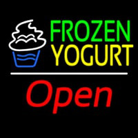 Frozen Yogurt Open White Line Neon Skilt