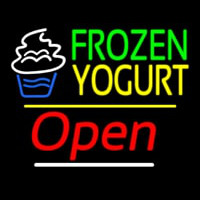 Frozen Yogurt Open Yellow Line Neon Skilt