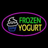 Frozen Yogurt Oval Pink Neon Skilt