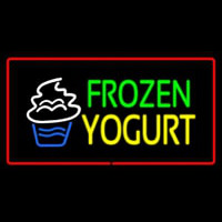 Frozen Yogurt Rectangle Red Neon Skilt