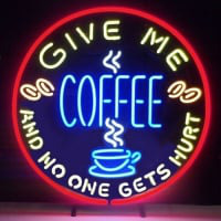 Give Me Coffee And No One Get Hurt Øl Bar Åben Neon Skilt