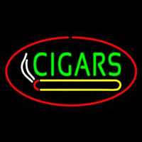 Green Cigars Logo Red Oval Neon Skilt
