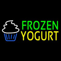 Green Frozen Yogurt Yellow Logo Neon Skilt