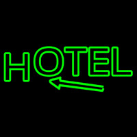 Green Hotel With Arrow Neon Skilt