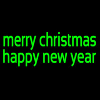 Green Merry Christmas Happy New Year Neon Skilt