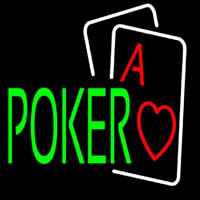 Green Poker With Cards Neon Skilt