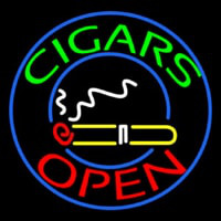 Green Round Cigars Open Neon Skilt