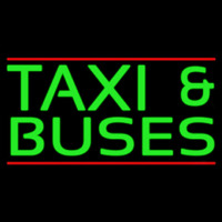 Green Ta i And Buses Neon Skilt