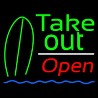 Green Take Out Bar Open Neon Skilt