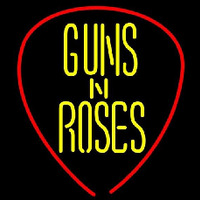 Guns N Roses Guitar Pick Rock Band Neon Skilt
