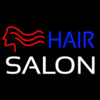 Hair Salon With Girl Logo Neon Skilt