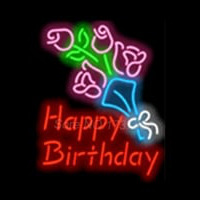 Happy Birthday with Flowers Neon Skilt