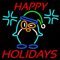 Happy Holidays With Snow Man Logo Neon Skilt