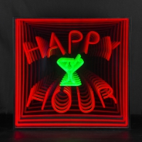 Happy Hour 3D Infinity LED Neon Sign