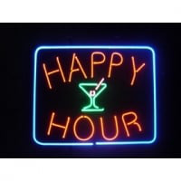 Happy Hour Cocktails Neon Skilt