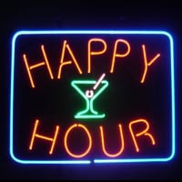 Happy Hour Øl Bar Åben Neon Skilt