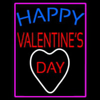 Happy Valentines Day With Pink Border Neon Skilt