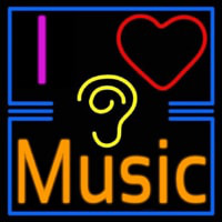 I Love Hearing Music Neon Skilt