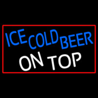 Ice Cold Beer On Top With Red Border Neon Skilt