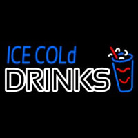 Ice Cold Drinks Neon Skilt