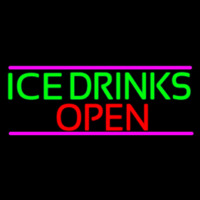 Ice Cold Drinks Open Neon Skilt