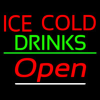 Ice Cold Drinks Red Open Neon Skilt