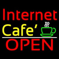 Internet Cafe Open With Coffee Cup Neon Skilt