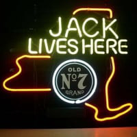 Jack Daniels Jack Lives New York Whiskey Øl Bar Åben Neon Skilt
