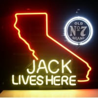 Jack Daniels Lives Here California Old #7 Whiskey Øl Bar Åben Neon Skilt