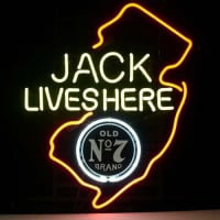 Jack Daniels Lives Here New Jersey Whiskey Neon Øl Bar Skilt