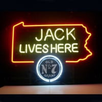 Jack Daniels Lives Here Pennsylvania Old #7 Whiskey Øl Bar Åben Neon Skilt