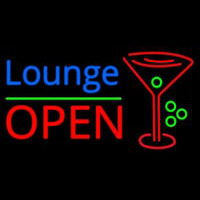Lounge With Martini Glass Open 1 Neon Skilt