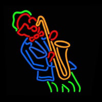 Man Playing Saxophone Neon Skilt