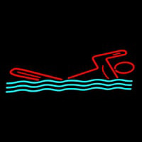 Man Swimming Neon Skilt