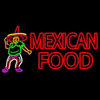 Mexican Food Man Logo Neon Skilt