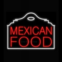 Mexican Food Red Building Neon Skilt