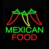 Mexican Food Three Peppers Neon Skilt