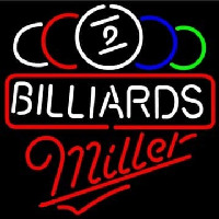 Miller Ball Billiards Pool Beer Neon Skilt