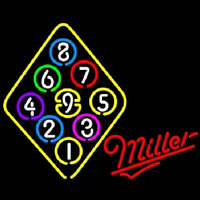Miller Ball Billiards Rack Pool Neon Skilt
